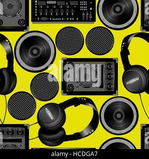 Sound und Subwoofer Lautsprecher nahtlose Muster. - Stockfoto
