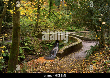 England, Somerset, Yeovil, Yeovil Country Park, Ninesprings, Wasserfall und Brücke - Stockfoto
