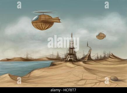 Fantasielandschaft mit einem verfallenen Turm und Luftschiffe in den Himmel - Stockfoto