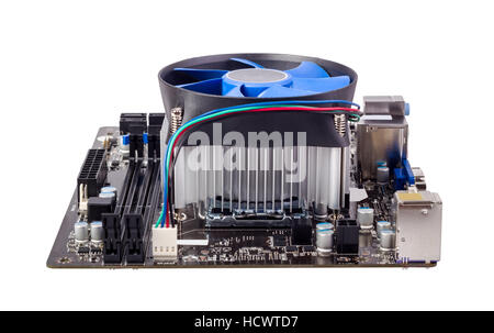 Computer Motherboard isoliert auf weißem Hintergrund mit CPU-Kühler - Stockfoto