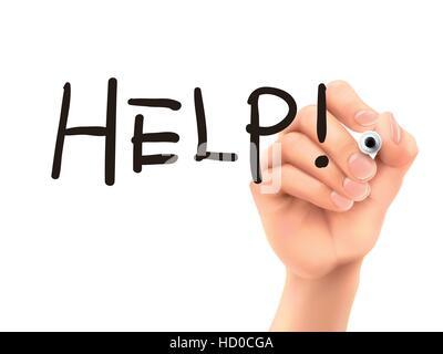 Hilfe-Wort geschrieben von Hand auf einer transparenten Tafel - Stockfoto