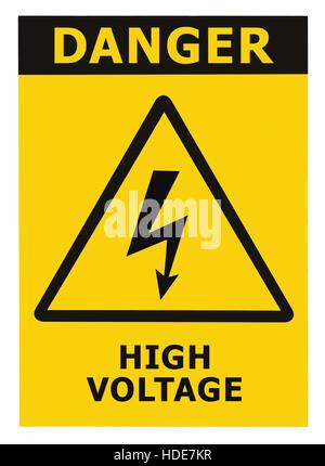 Hohe Spannung Warnschild Symbol. Gefahr strom Vector Illustration ...