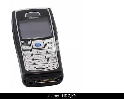 Antiquitäten, alte cellular(mobile) Telefon. Isoliert auf weiss. - Stockfoto