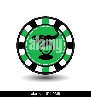 Weihnachten-Casino-chips. Grün. Mädchen-Weihnachtsmann mit seinen Lippen in der Mitte. Abbildung Vektor. Verwenden - Stockfoto