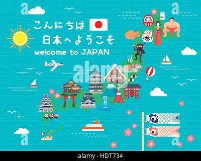 sch ne japan reise karte hallo willkommen in japan auf japanisch vektor abbildung bild. Black Bedroom Furniture Sets. Home Design Ideas