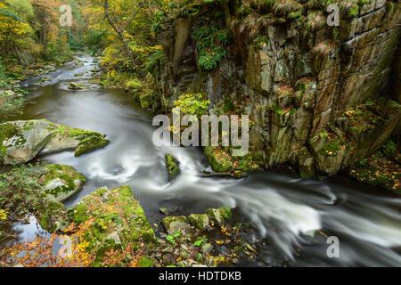 Bode Schlucht im Herbst, Bodetal, Nationalpark Harz, Sachsen-Anhalt, Deutschland - Stockfoto