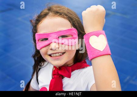 Superheld Cusome Mädchen Glück niedliche Konzept - Stockfoto