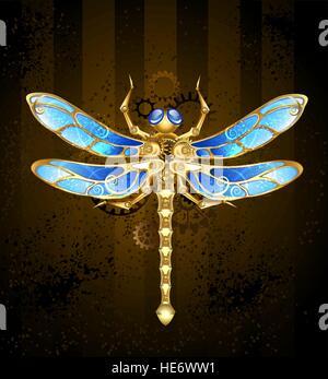 mechanische Libellen aus Messing und Gold mit Flügeln verziert mit blauem Glas und Zahnräder - Stockfoto