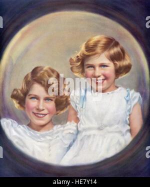 Prinzessin Margaret, Prinzessin Elizabeth und zukünftige Königin Elizabeth II, links, rechts.   Prinzessin Elizabeth, zukünftige Elizabeth II., geboren 1926.  Königin von Vereinigtes Königreich, Kanada, Australien und Neuseeland. Prinzessin Margaret, Margaret Rose, 1930 – 2002, aka Princess Margaret Rose.  Jüngere Tochter von König George VI. und Königin Elizabeth. Stockfoto