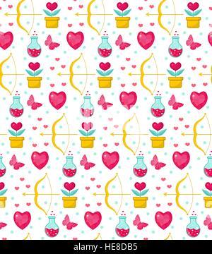 Niedliche Musterdesign Valentinstag mit Blumen, Bogen Amor, Liebe Trank, Romantik endlosen Hintergrund, Textur, Tapete. Flach, Cartoon-Stil. Vektor-Illustration. Stockfoto