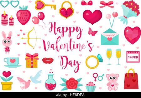 Valentinstag-Icon-Set, flachen Stil. Liebe, Romantik und dating Symbole Sammlung, Design-Element, Objekt isoliert - Stockfoto