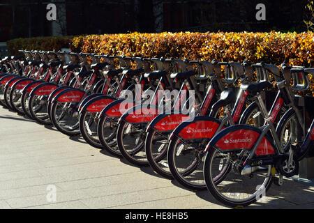Fahrrad Verleih-docking-Station, Canary Wharf, London E14, Vereinigtes Königreich - Stockfoto