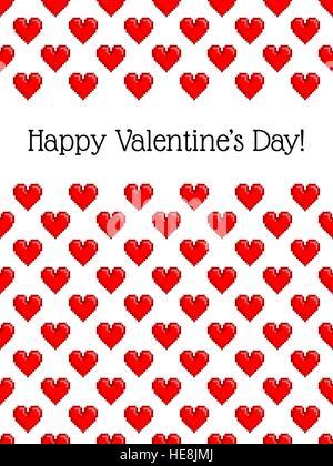 Happy Valentines Tag. 8-bit Pixel love message Icons auf weißem ...