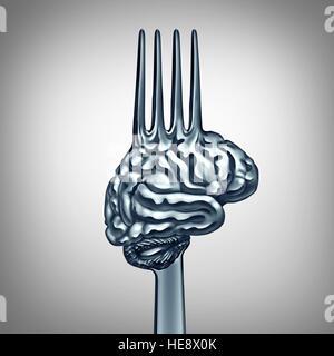 Gehirn Essen Symbol als ein Metall Gabel geformt als ein Organ des menschlichen Denkens, Brainpower mit Ernährungskonzept - Stockfoto