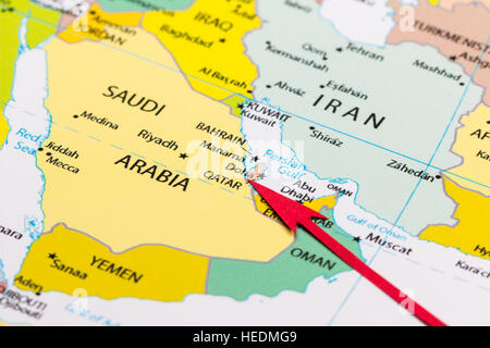 katar weltkarte Katar auf Weltkarte Stockfoto, Bild: 169356541   Alamy katar weltkarte