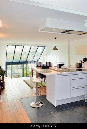 Moderne offene Küche in renovierten Haus mit Blick auf einen üppigen Garten - Stockfoto