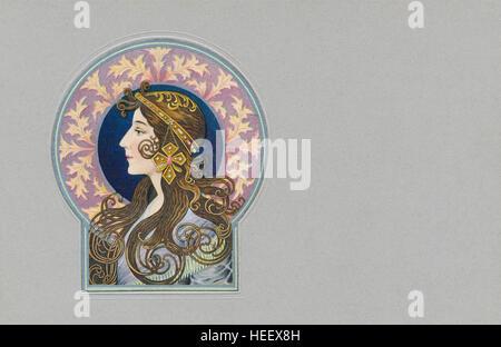 Jugendstil Postkarte gedruckt chromolithographically, geprägt und mit Silber Farbe überdruckt. - Stockfoto