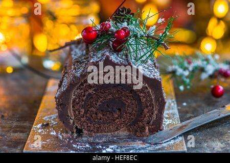 Weihnachten Schokolade Yule Log - Stockfoto