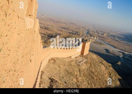 Westlichen beschränken der großen Mauer bei Jiayuguan, Gansu-Provinz, China, Asien - Stockfoto