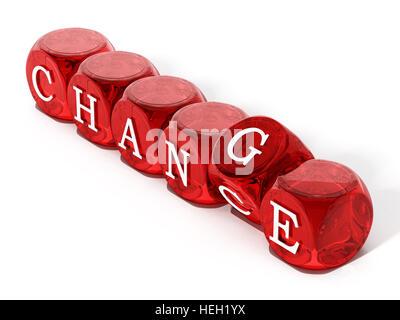 Die Chance Wort Hinwendung zu ändern. 3D Illustration. - Stockfoto
