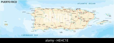 Puerto Rico politische Karte mit Hauptstadt San Juan Commonwealth