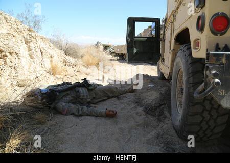 Ein US-Soldat vom 4. Bataillon, 6. Infanterie-Regiment simuliert eine Verletzung von einem chemischen Angriff während - Stockfoto