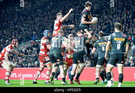 London, UK. 27. Dezember 2016. AVIVA Rugby Premier League Big Game 9 Harlequins V Gloucester RFU Twickenham Stadion - Stockfoto
