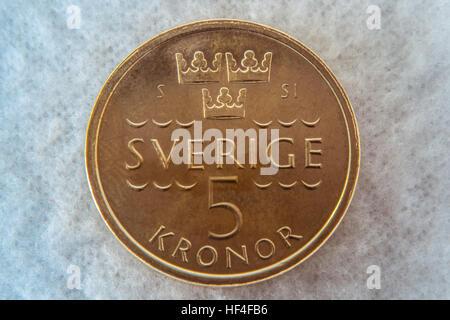 Schwedische 10 Zehn Kronen Münze Währung Geld Schweden Stockfoto
