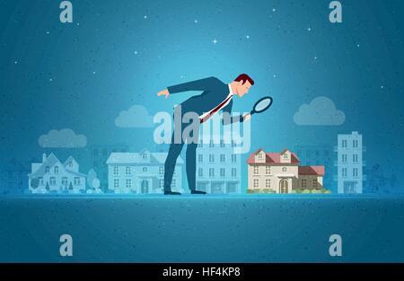 Business-Konzept-Vektor-Illustration. Investitionen, Immobilien, Gelegenheit Anlagekonzept. Elemente werden separat - Stockfoto