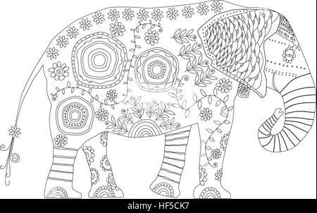 Elefant Figur gezeichnet Vektor-Illustration. Niedliche Elefanten ...