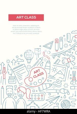 Kunstunterricht - Linie Entwurfsvorlage Broschüre Plakat-A4 Vektor ...