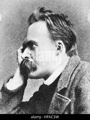 Friedrich Wilhelm Nietzsche, 1844-1900, ein deutscher Philosoph, Kulturkritiker, Dichter, Philologe, Reproduktion - Stockfoto