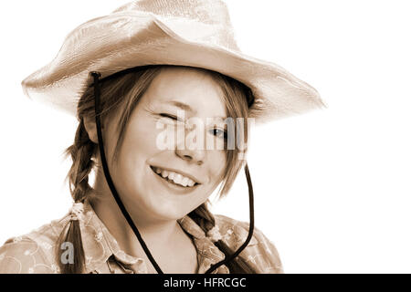 Teenager-Mädchen Cowboy Hut - Stockfoto