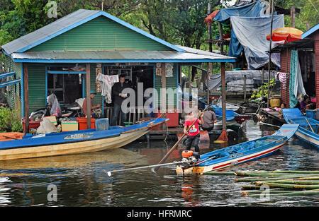 Die Sangkhae - Sangker River Battambang Provinz Cambodia.The Tonle Sap Frischwasser See (reichsten See zum Angeln - Stockfoto