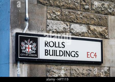 Rollen-Gebäude-Straße Zeichen, City of London, England, U.K - Stockfoto
