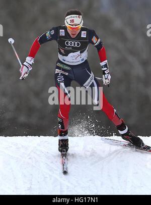 Oberstdorf, Deutschland. 4. Januar 2017. Heidi Weng Norwegen Ski im Verfolgungsrennen der Frauen während der FIS - Stockfoto