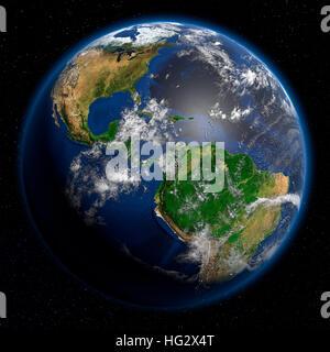 Erde aus dem Weltraum zeigt Central angesehen und Lateinamerika. Realistische digitale Illustration einschließlich - Stockfoto