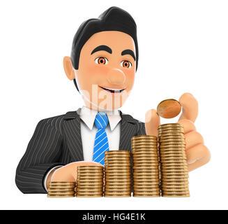 3d-Geschäft Leute Abbildung. Geschäftsmann, eine Münze in Geld Treppe. Kapitalwachstum. isoliert weißer Hintergrund. - Stockfoto