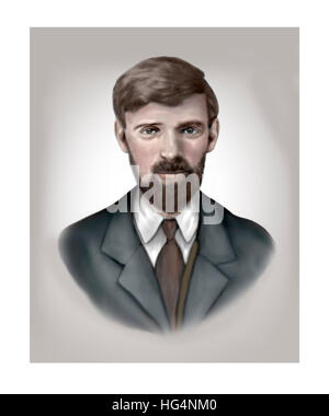D. h. Lawrence, 1885-1930, Schriftsteller, Dichter, Essayist - Stockfoto