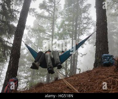 Reifen Sie paar Wandern, entspannen in der Hängematte im nebligen Pinienwald. - Stockfoto