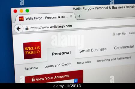 LONDON, UK - 20. Oktober 2015: Die Homepage der offiziellen Website, Wells Fargo, am 20. Oktober 2015. - Stockfoto