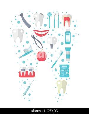 Dental Symbolsatz in Zahnform, flachen Stil. Stomatologie Kit isoliert auf weißem Hintergrund. Zahnmedizin-Sammlung - Stockfoto