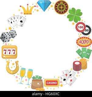 Casino-Rahmen mit Platz für Text. Glücksspiel isoliert auf weißem Hintergrund. Einarmigen Banditen, Roulette, Poker, - Stockfoto