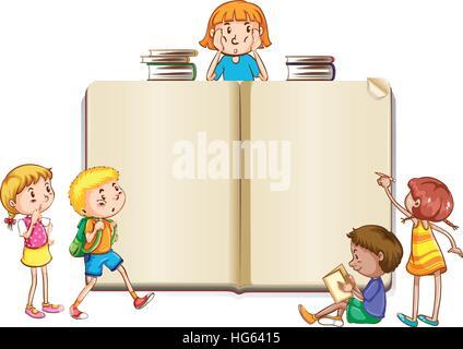Grenze-Vorlage mit Kinder lesen Bücher-Abbildung Vektor Abbildung ...