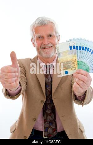 Ältere, erfolgreichen Mann mit Geld - Stockfoto