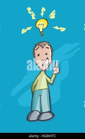 Ein glücklicher Mann mit einer kreativen Idee, mit einem Gesicht überrascht und schüchtern Ausdruck... Eine leuchtende - Stockfoto