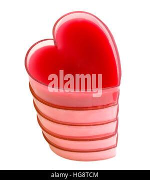 Turm von fünf roten Herzen isoliert auf weißem Hintergrund. - Stockfoto