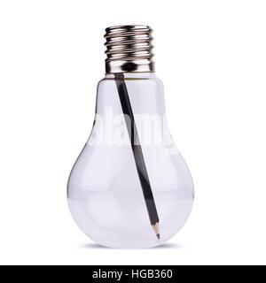 Frontansicht einer großen Glühbirne mit schwarzen Stift innen, Konzept für Ideen, Kreativität. Isoliert auf weiss. - Stockfoto