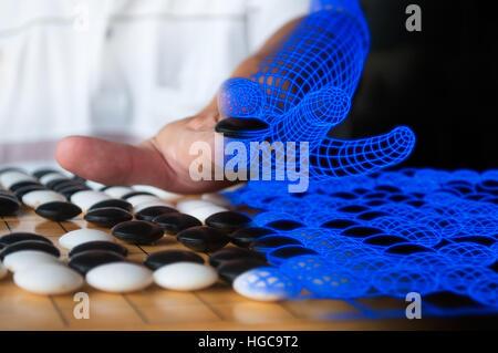 Menschlichen Plaing gehen auf Computer Wireframe stellvertretend für künstliche Intelligenz Konzept Blau gemischt. - Stockfoto