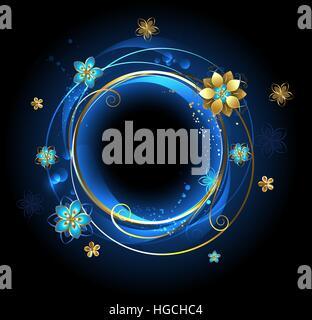 Runde Banner mit goldenen Locken, geschmückt mit gold abstrakt Blumen auf blauem Grund. - Stockfoto